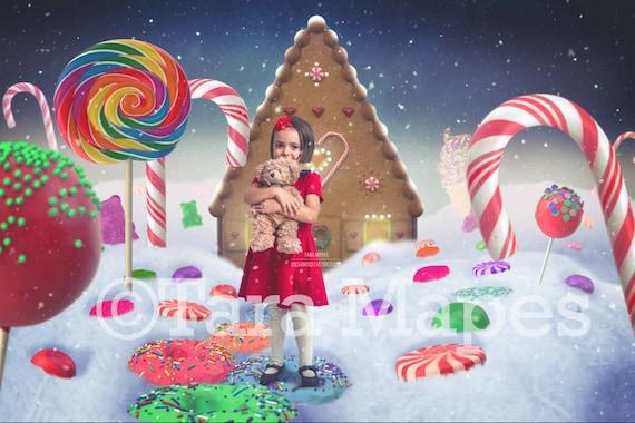 Christmas Candyland Backdrop.Christmas Candyland Gingerbread House Holiday Christmas Digital Background Backdrop