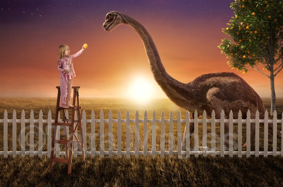 Smiling Dinosaur In Backyard Funny Dinosaur By Fence In Etsy