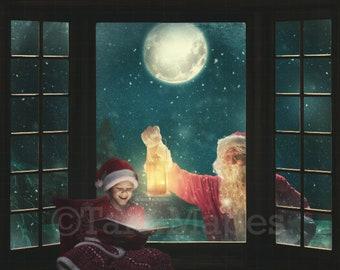Christmas Digital Backdrop Santa Looking in Window Christmas Window Seat Digital Background Backdrop