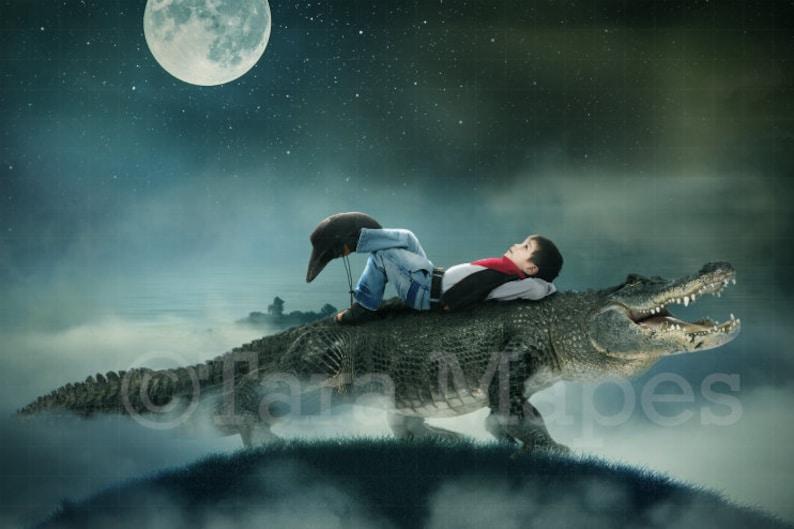 1146d2099b00 Alligator Crocodile on Hill Whimsical Digital Background / Backdrop