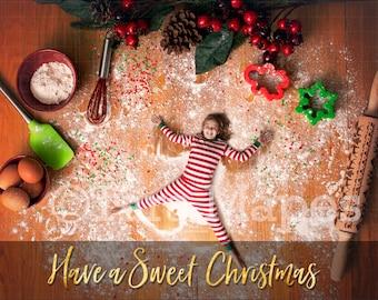 Christmas Digital Backdrop - Flour Angels - Christmas Cookie Cutting Board LAYERED PSD  - Christmas Digital Background