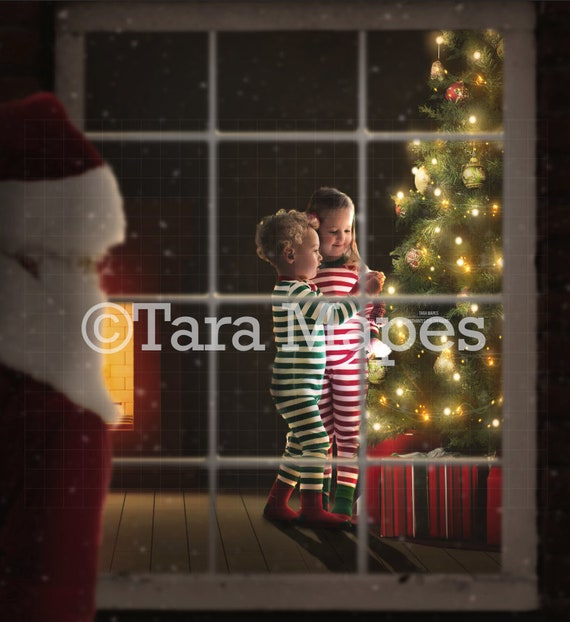 Santa Watching Kids Through Window Christmas Tree With Free Tutorial Link In Description Layered Psd File Digital Background Backdrop