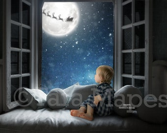 Christmas Digital Backdrop Christmas Window with Santa in Moon Digital Background Backdrop
