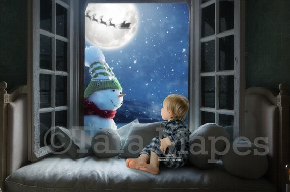 Snowman In Christmas Window Holiday Magical Digital Background Backdrop