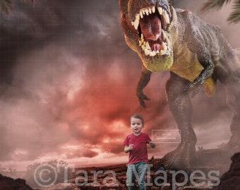 T-REX Dinosaur Chasing Child Digital Background / Backdrop