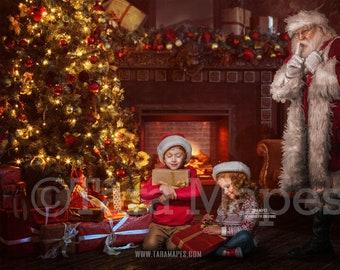 Christmas Digital Backdrop Santa Surprise - Santa Behind Tree - Santa by Christmas Tree - Holiday Christmas Digital Background / Backdrop