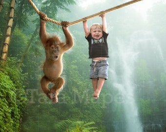 Baby Monkey on Rope in Jungle Digital Background / Backdrop