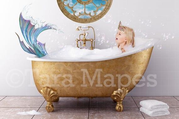 Bathtub Mermaid Mermaid In Bathtub Digital Background Etsy