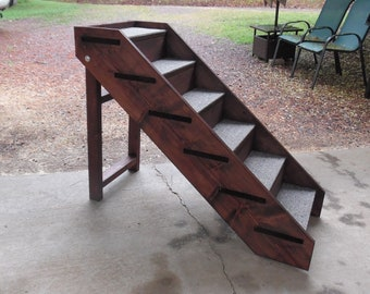 "Handmade Dog Steps Wooden Folding Pet Steps Up to 32"" Tall x 18"" Wide Side Rails BackBoards Tall Beds  Dog Stairs"