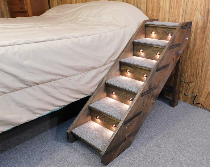 "Featured listing image: 24"" - 38"" Tall Beds Lighted Folding Handmade Wood Dog Stairs 14"" Wide Pet Steps Side Rails Dog Steps Soft LED Night light Timer"