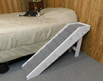 "Handmade Slim Dog Ramp 20"" - 36"" Tall Folding Pet Steps 11"" W Dog Stairs Ramp Tall Beds Made to Order"