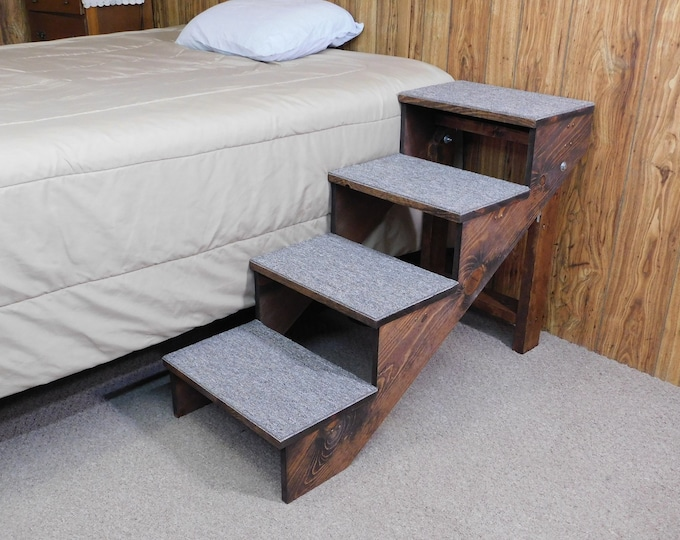"Featured listing image: Pet Stairs 24"" - 28"" Tall 18"" Wide X-Large Wood Handmade Folding Dog Stairs Pet Steps 34"" Medium to Large Dogs Reinforced 100 + lbs"