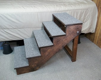 "Large 18"" - 36"" Tall Wooden Handmade Folding Dog Stairs Extended Top Step 18"" Wide Dog Steps Ramp Custom to Your Bed"