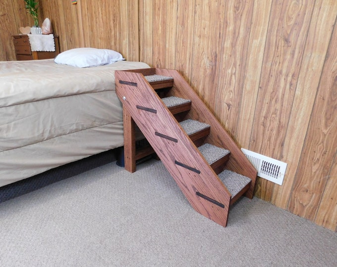 """Featured listing image: Handmade Solid Oak Pet Stairs 24""""- 32"""" Tall x 14"""" Wide Dog Stairs Folding Pet Steps 100% U.S.A. Hardwood Dog Steps For Tall Beds"""