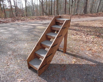 "Pet Stairs Handmade to Order 24"" - 38"" High Tall Beds 14"" - 18"" Wide Folding Dog Stairs Pet Steps with Rails"