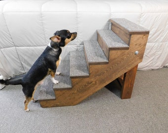 "Tall Beds Pet Stairs 24"" Tall  x 18"" Wide Wooden Handmade Folding Toy Dog Stairs Small Pet Steps with Backboards"