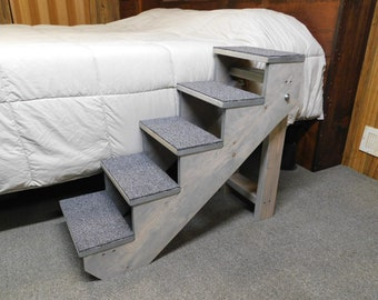 """Pet Stairs 28"""" Tall x 14"""" Wide Wooden Handmade Folding Dog Stairs Pet Steps Dog Cat Step Locks in Place"""