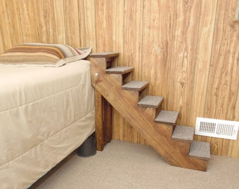 """20"""" - 38"""" Tall Wood Pet Stairs Handmade Folding Pet Steps 10"""" Wide Cat Stairs Small Dog Stairs New Made to Order"""