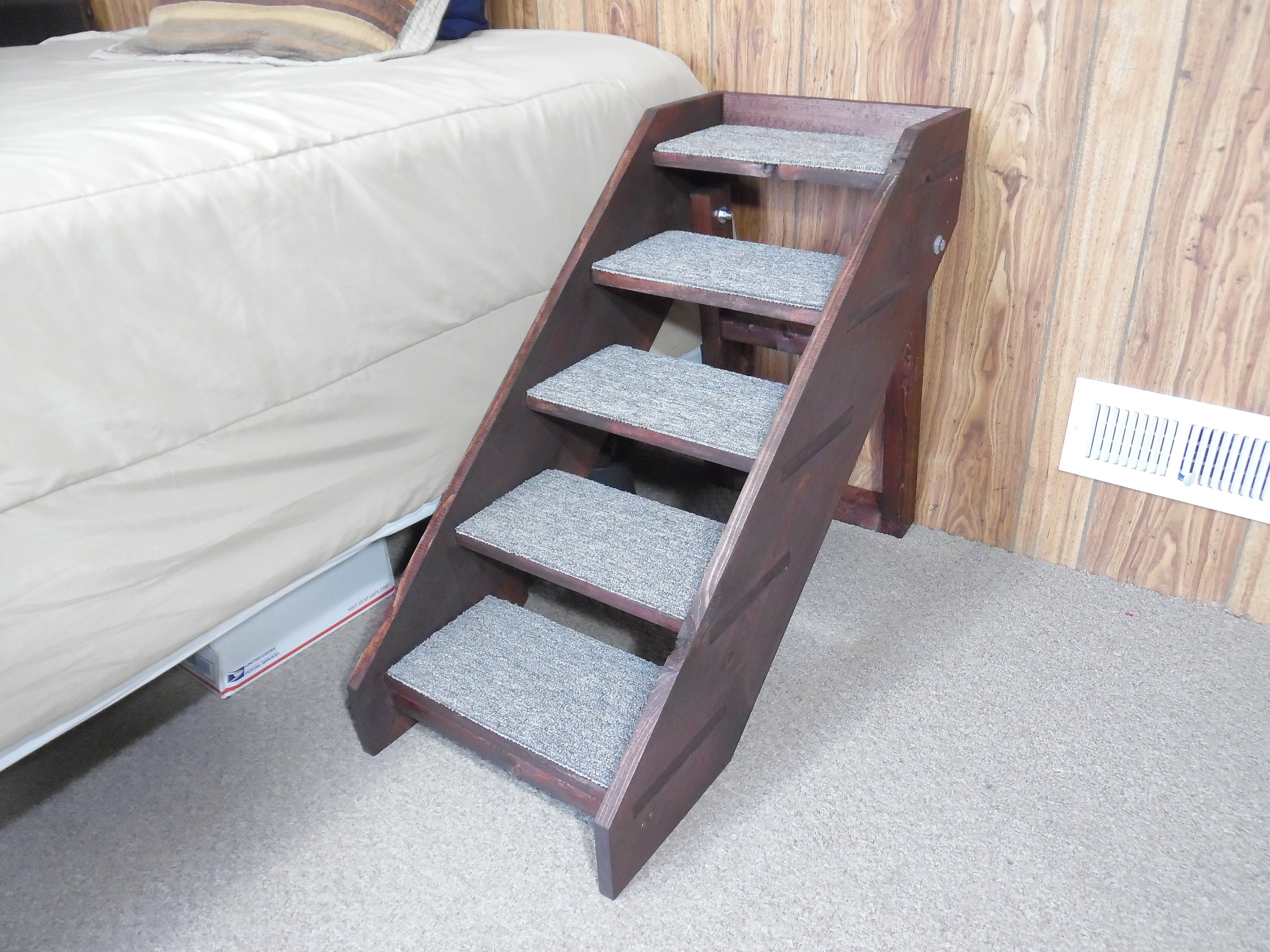 Handmade Wood Dog Stairs Folding 20   32 Tall X 14 Wide 5 Tall Steps Pet  Friendly Side Rails Custom Pet Steps