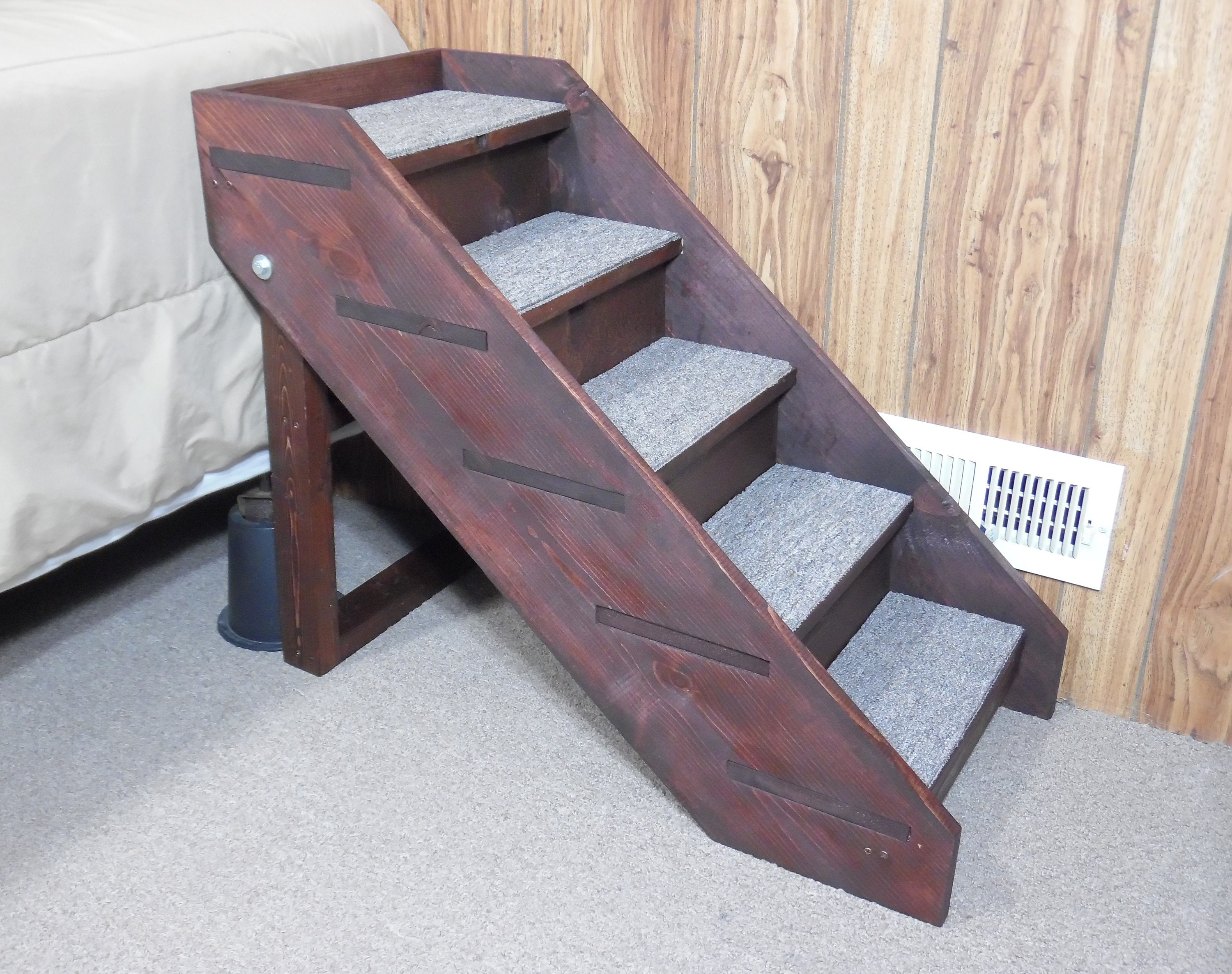 Dog Stairs Handmade Wooden Folding Steps 20   32 Tall X 14 Wide 5 Rise Steps  Pet Friendly Side Rails Back Board
