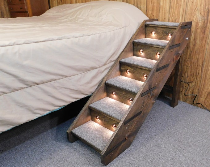 """Featured listing image: Lighted Folding Handmade Wood Dog Steps 30"""" Tall x 14"""" Wide Pet Steps Side Rails and Backboards Dog Stairs Soft LED Night light Timer"""