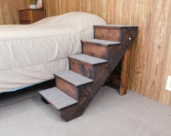 """Handmade 18"""" - 38"""" Tall Beds Wood Folding Dog Stairs  Pet Stairs 12"""" - 16"""" Wide Pet Steps Extended Top Step Medium Pets"""