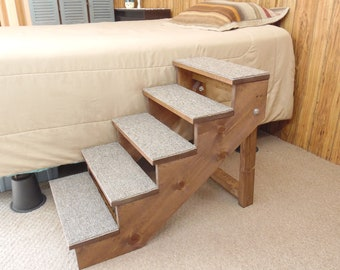 "Pet Stairs Large Wooden Handmade Folding Dog Steps 16"" - 36"" Tall and 12"" - 18"" Wide Ramp Custom to Your Bed"
