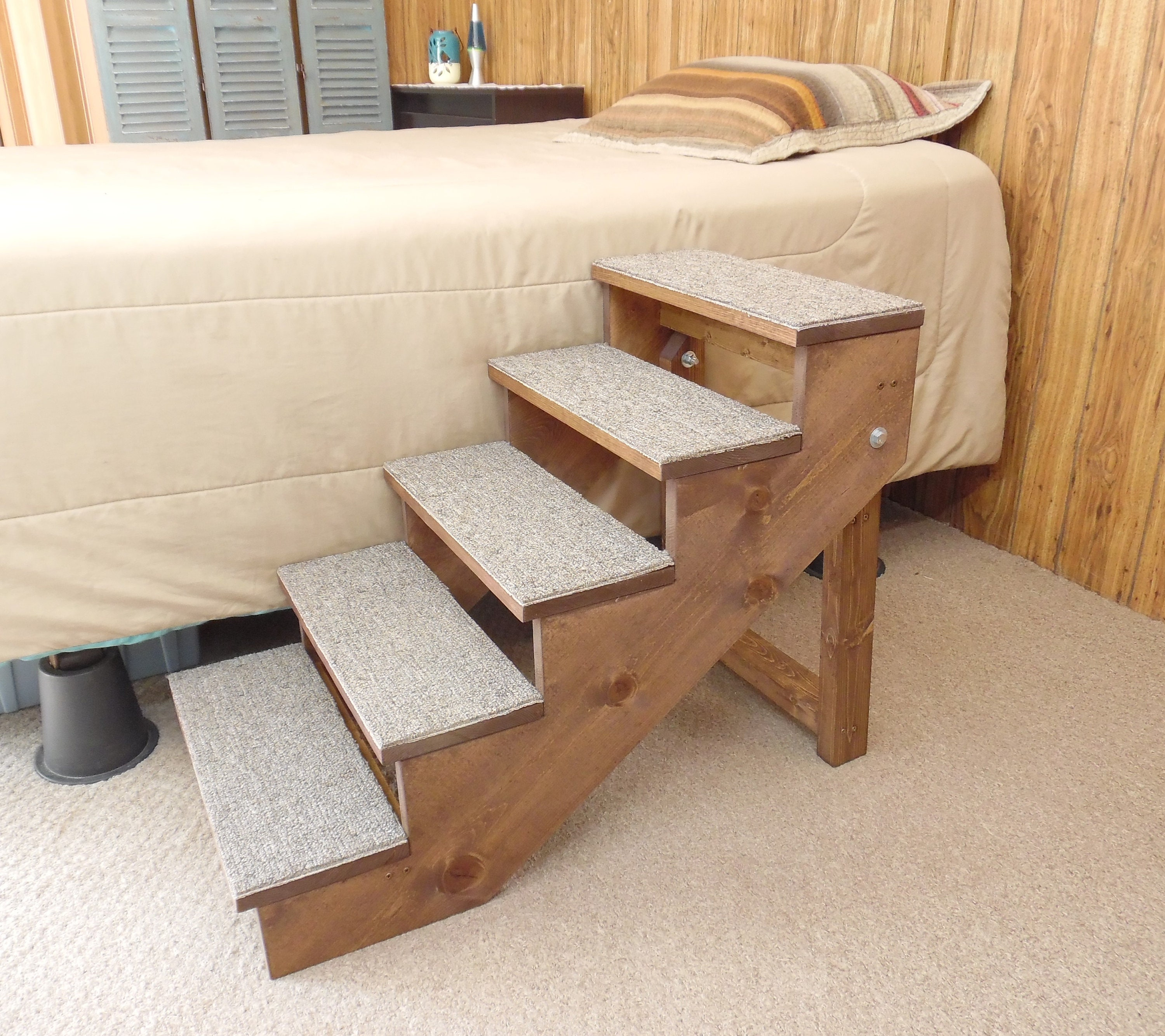 Pet Stairs 16   36 Tall Large Wooden Handmade Folding Dog Stairs 12   18  Wide Pet Steps Ramp Custom To Your Bed