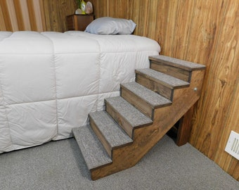 Pet Stairs for Tall Beds Wooden Handmade Folding Dog Stairs Small Pet Steps with Backboards Ramp Choice of Stain