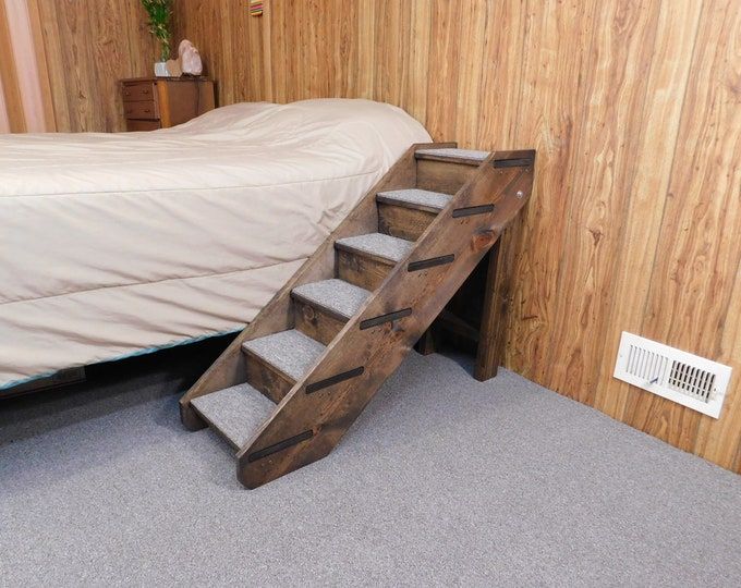 """Featured listing image: 24"""" - 38"""" Tall x 14"""" Wide Folding Handmade Wood Dog Steps  Pet Steps Side Rails and Backboards Dog Stairs"""
