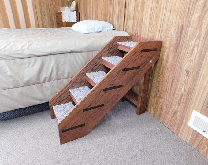 """Featured listing image: Pet Stairs 24""""- 32"""" Tall x 14"""" Wide Dog Stairs Folding Handmade Solid Red Oak Pet Steps 100% U.S.A. Hardwood Dog Steps For Tall Beds"""
