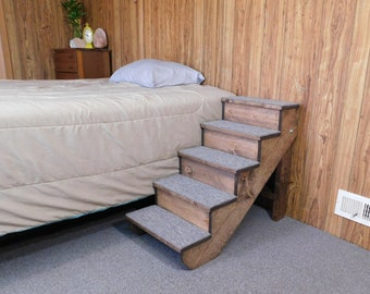 """Pet Stairs 18"""" - 38"""" Tall Wooden Handmade Folding Dog Stairs 12"""" - 16"""" Wide Pet Steps with Backboards Locks in Place Ramp Choice of Stain"""