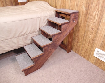 """Wood Dog Stairs 18"""" - 38"""" Tall Beds Handmade to Order  12"""" - 16"""" Wide Folding Pet Stairs Pet Steps"""