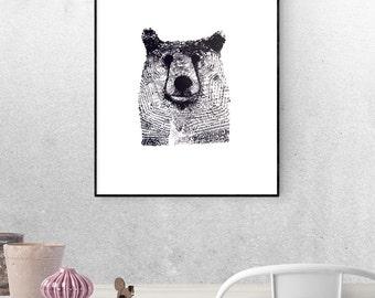 Screen-printed bear head