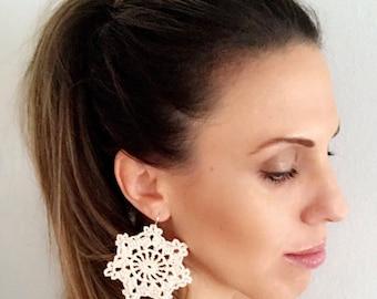 Antique lace crochet earrings