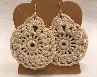 Bone white crochet teardrop lace earrings