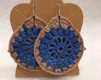 Two-toned blue and beige teardrop lace crochet earrings