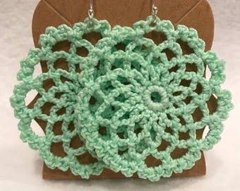 Sea green crochet mandala earrings