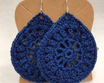 Royal Blue crochet lace teardrop earrings