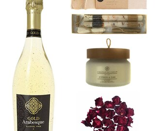 Luxury Bath Gift Set Featuring Gold Arabesque Non-Alcoholic Sparkling Wine (Free Shipping) by Wines For Mothers