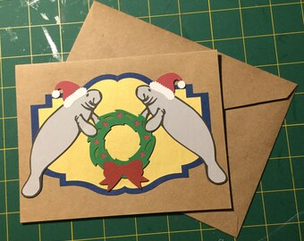 Christmas Manatees Handmade Holiday Card