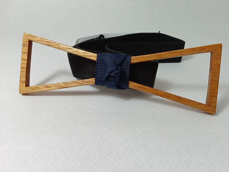 Ceremony groom witnesses Double knot perforated Wedding. Wooden bow tie Gift for him