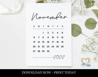 Nanowrimo 2022 Calendar.November Calendar Etsy