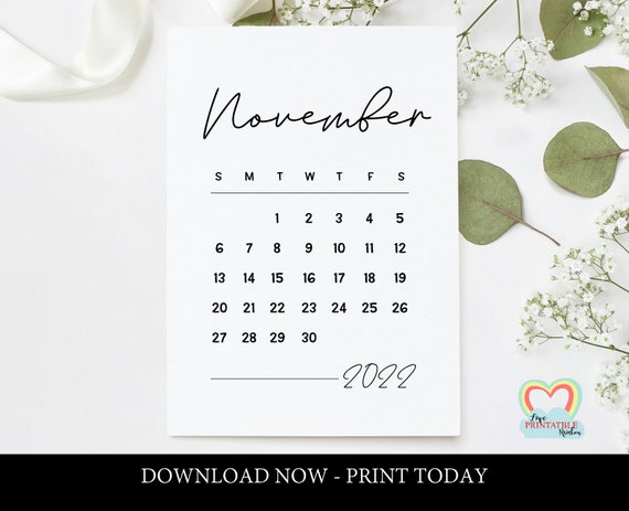 Printable November 2022 Calendar.November 2022 Calendar Printable Baby Due Date November 2022 Etsy