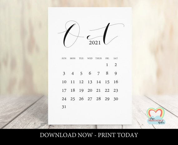Calendrier Tva 2021 Calendrier d'octobre 2021 imprimable date d'échéance | Etsy