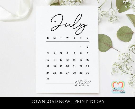 July 2022 Calendar Template.July 2022 Calendar Printable Baby Due Date July 2022 Etsy
