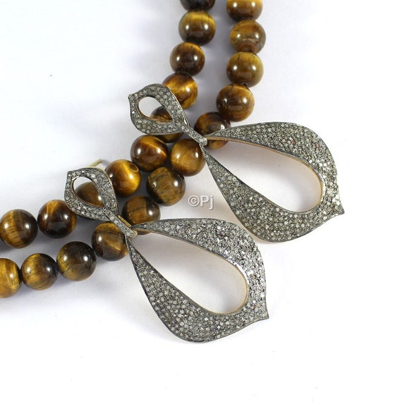 ffd73548a Long Pave Diamond Earrings Dangling Silver Earring Victorian   Etsy