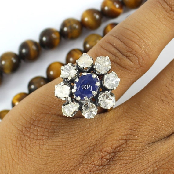 September Birthstone Engagement Ring. Sapphire Ring Sapphire Silver Ring Blue Sapphire Ring Polki Diamond Ring Polki Jewelry