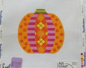 Hand Painted Needlepoint Canvas. Eye Candy Pumpkin