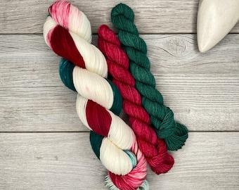 SOCK SET - Christmas Taffy - Hand Dyed Yarn - Superwash Merino - Hand Painted - Variegated Yarn - Red Green